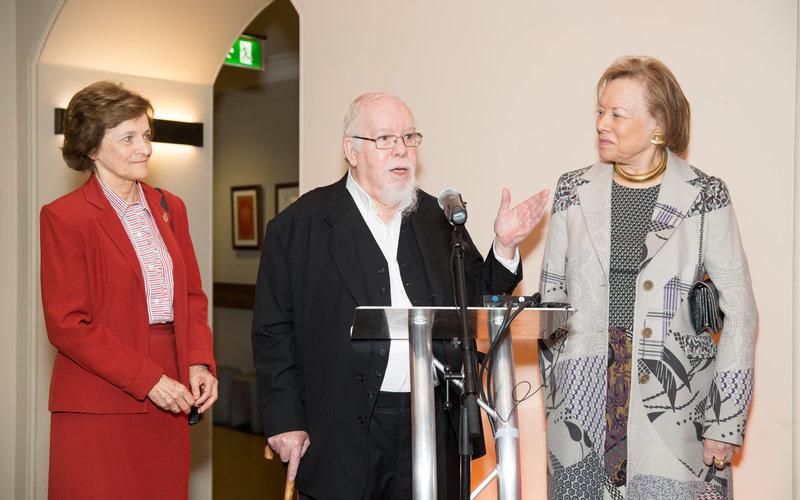 Sir Peter Blake unveils his newest piece)