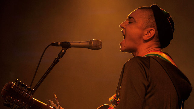 Sinead O'Connor performing in the Elgar Room at the Royal Albert Hall.