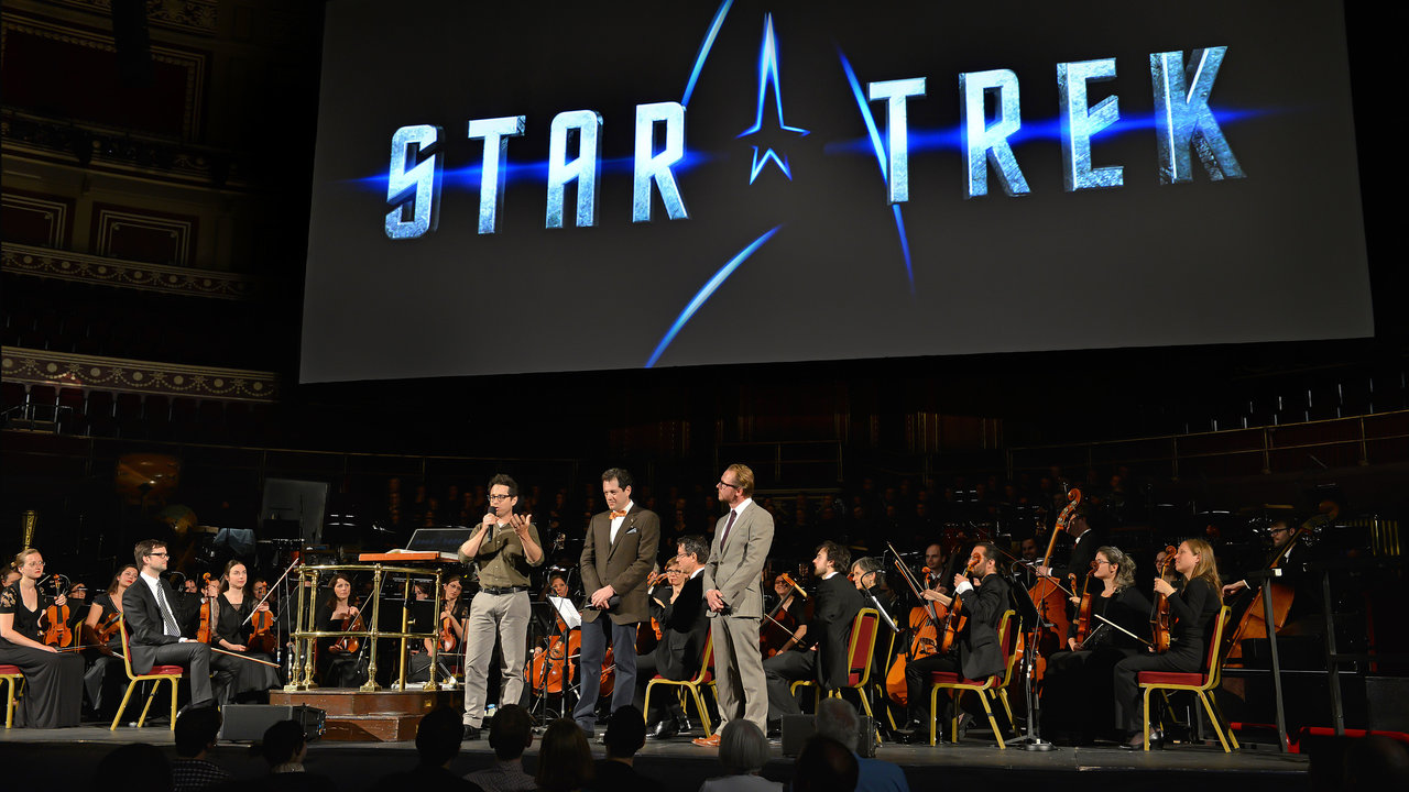 JJ Abrams, Simon Pegg and Michael Giacchino speaking during the UK Premiere of Star Trek Into Darkness Live in Concert at the Royal Albert Hall.