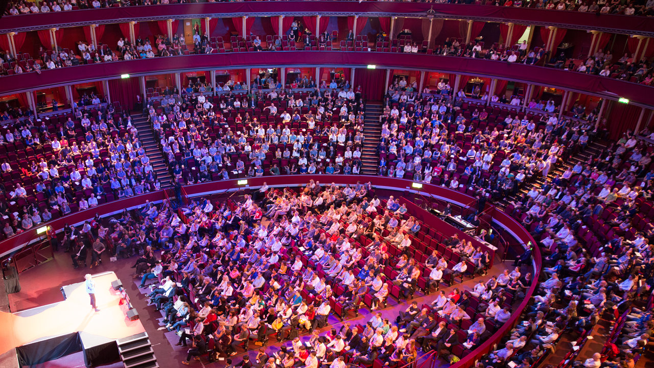 Wide shot of the main auditorium during the TEDxAlbertopolis event at the Royal Albert Hall.
