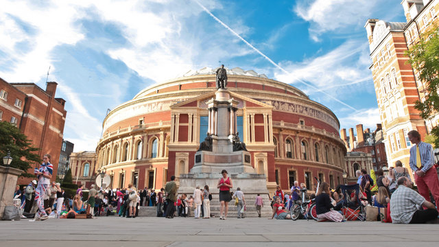 Prommers queuing outside the Royal Albert Hall during the Last Night of the Proms 2012.