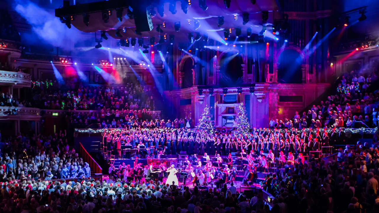 Jonathan Cohen and Alison Jiear with the London Concert Orchestra and London Concert Chorus performing during the Christmas Carol Singalong at the Royal Albert Hall.