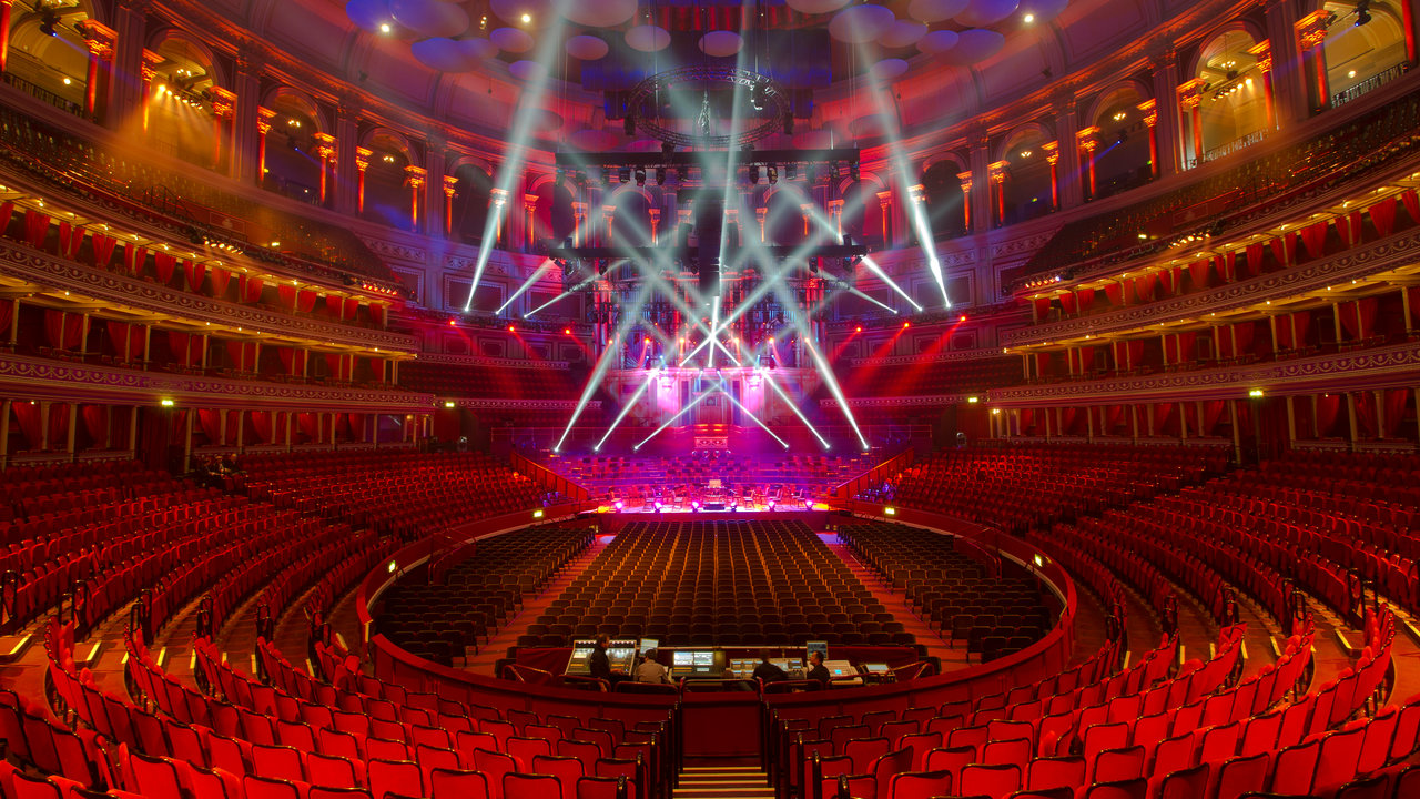 Wide shot of the stage set lighting in the main auditorium of the Royal Albert Hall.