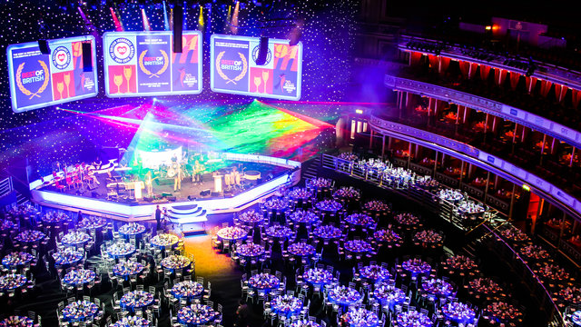 Main auditorium set up for the July Dinners at the Royal Albert Hall.