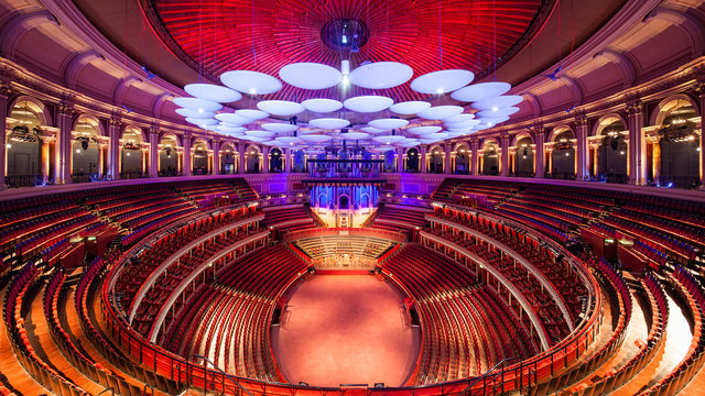 Large scale empty auditorium shot of the Royal Albert Hall