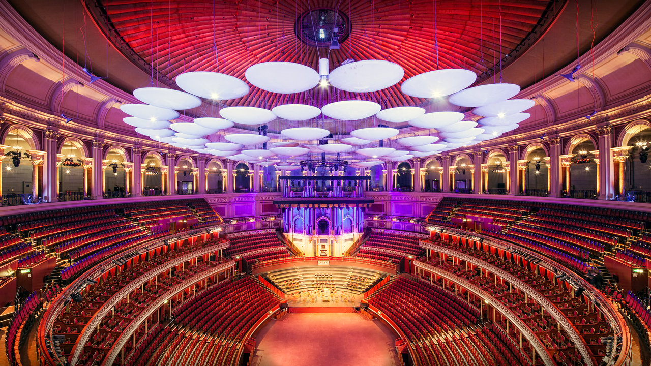 Large scale main auditorium shot of the Royal Albert Hall.