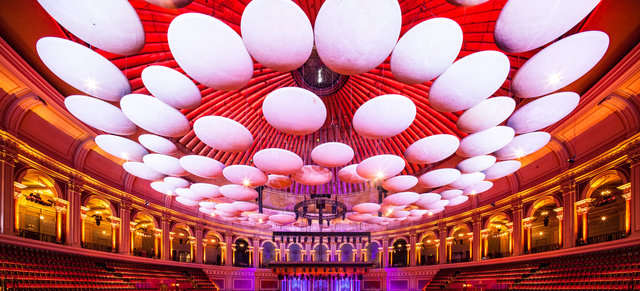 Large scale main auditorium shot of the roof at the Royal Albert Hall.