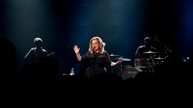 Adele performing at the Royal Albert Hall.