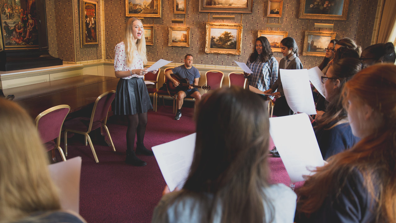 First Aid Kit give an education workshop to female vocalists from the Tri-borough Music Hub ahead of their Albert Sessions performance at the Royal Albert Hall.