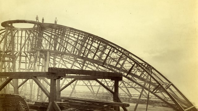 Construction of the dome stell roof in the Royal Albert Hall during the 1870s.