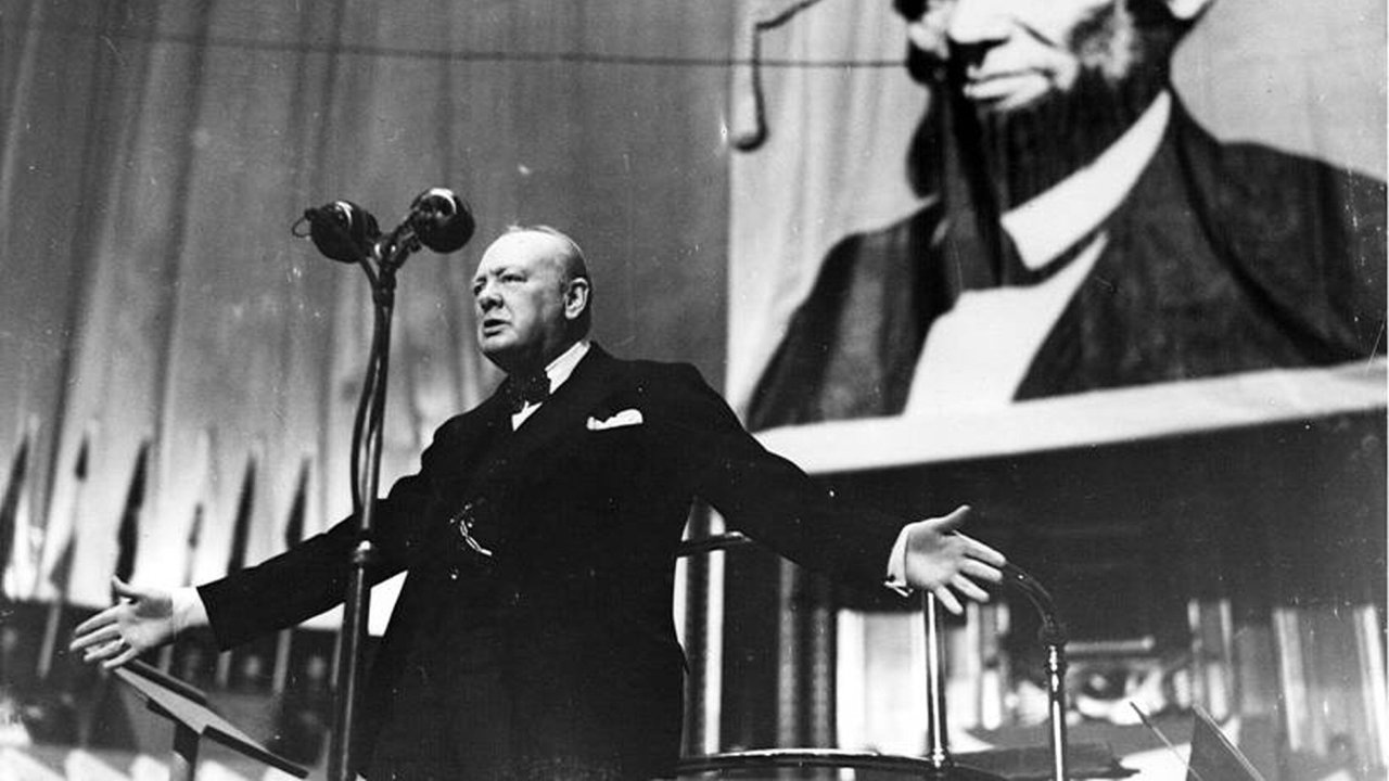 Photograph of Winston Churchill at 'To You, America, A Thanksgiving Day Celebration, in aid of King George's Fund For Sailors' at Royal Albert Hall.