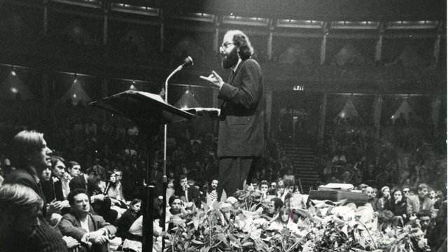 Photograph of Allen Ginsberg at the International Poetry Incarnation at Royal Albert Hall.