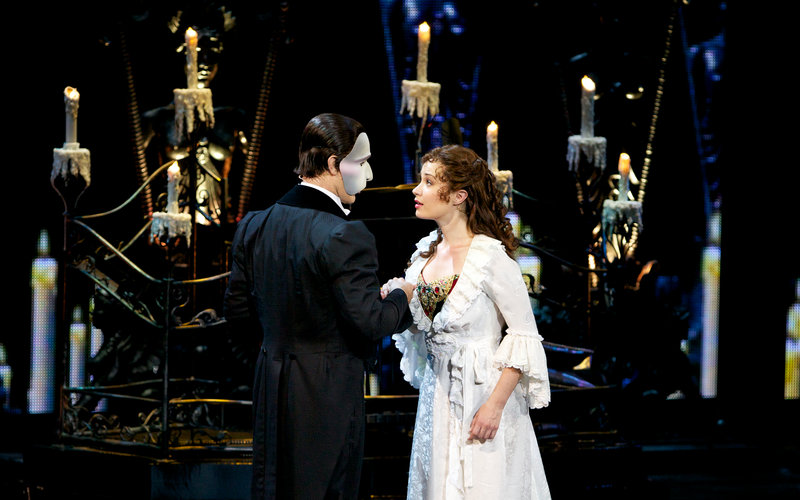 Sierra Boggess as Christine and Ramin Karimloo as The Phantom during the 25th Anniversary of 'Phantom of the Opera' at the Royal Albert Hall in 2011