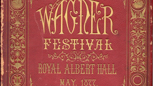 1870s red leather-bound programme cover with gilt
