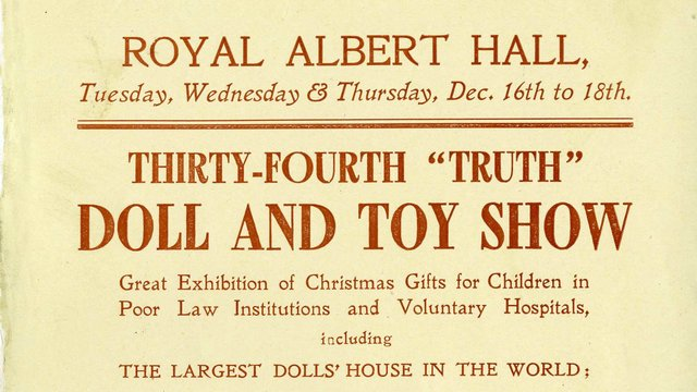 1910s handbill for a doll and toy show held at the Royal Albert Hall