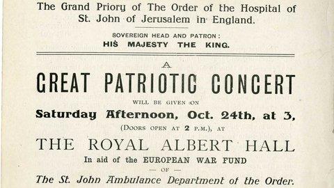 'A Great Patriotic Concert' to help the war effort – 24 October 1914