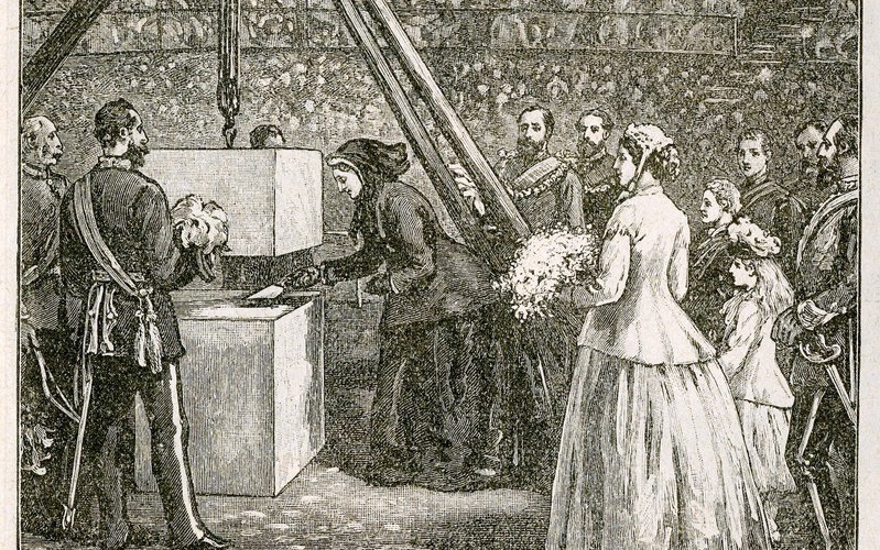 jpg(Queen Victoria laying the foundation stone of the Royal Albert Hall in 1867