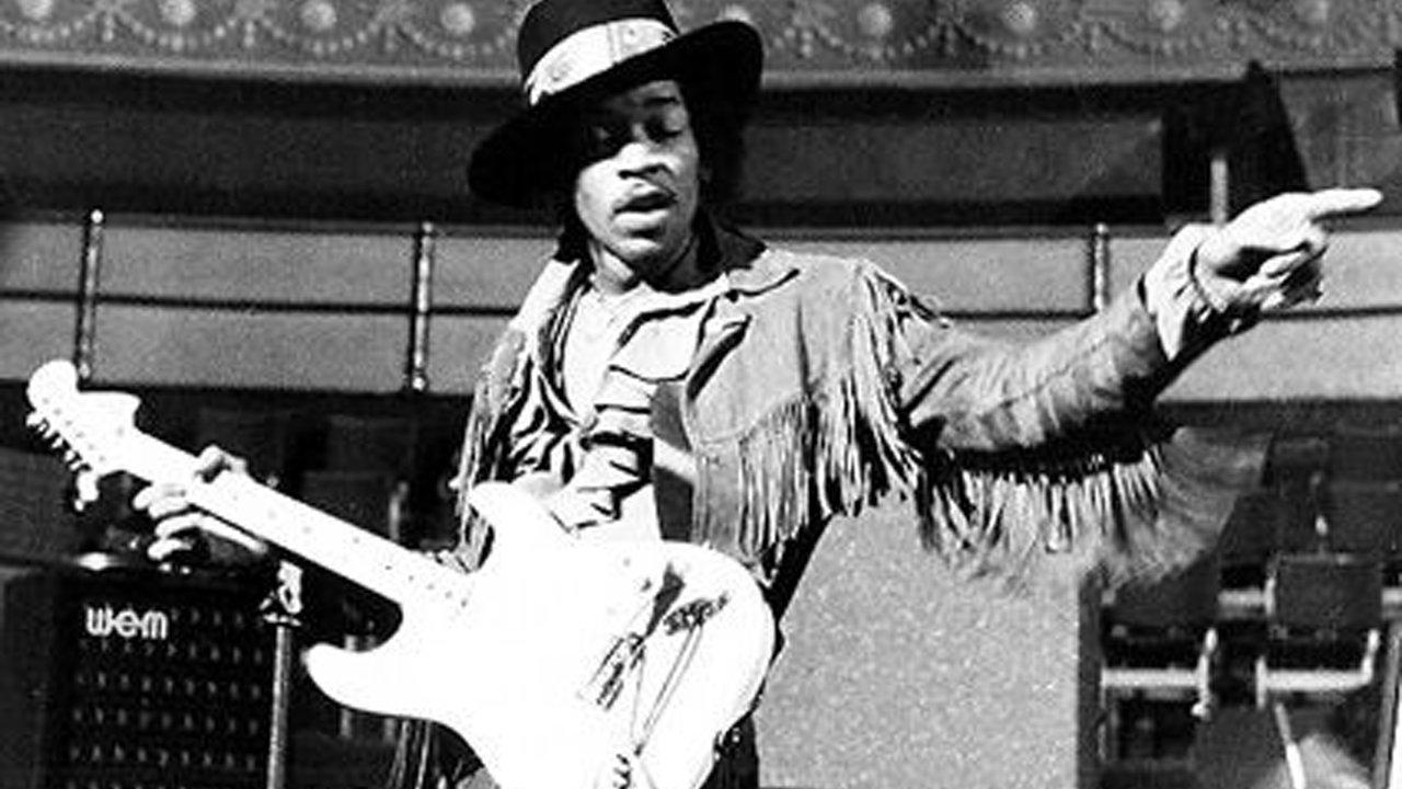 Photograph of Jimi Hendrix at Royal Albert Hall.