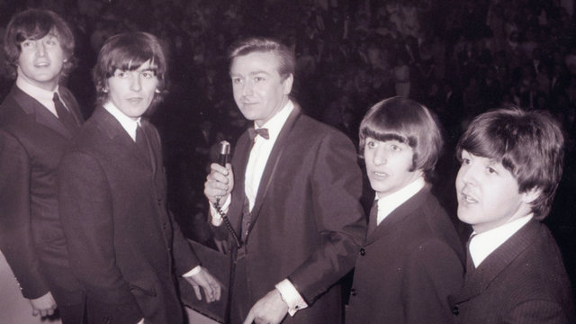 Photograph of The Beatles at the Great Pop Prom in aid of The Printers Pension Corporation at Royal Albert Hall.