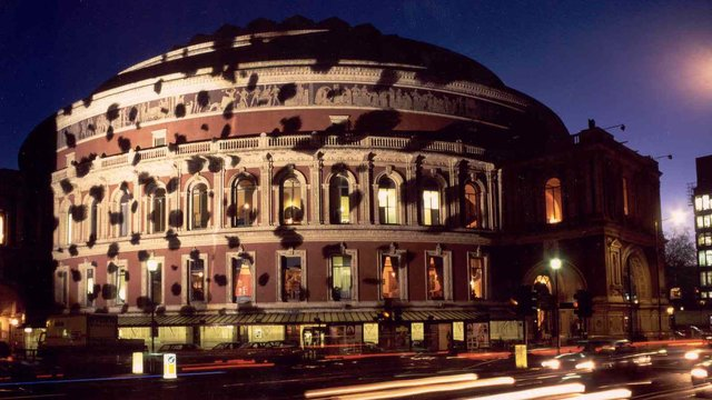 Exterior of the Royal Albert Hall for the 101 Dalmations premiere.