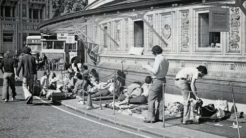 75 years of the Proms at the Royal Albert Hall in pictures: queuing for the Last Night concert in 1974