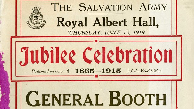 1910s programme cover for Salvation Army Jubilee Celebrations  at the Royal Albert Hall
