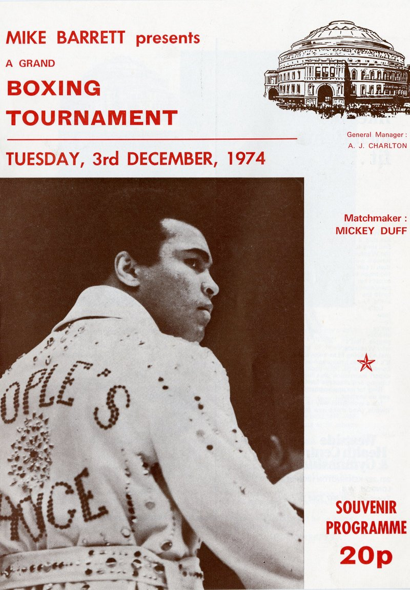 1974 programme from Mike Barrett's International Professional Boxing Tournament with Muhammad Ali at the Royal Albert Hall