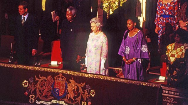 The visit of South African President Nelson Mandela to the Royal Albert Hall in the presence of HM Queen Elizabeth II