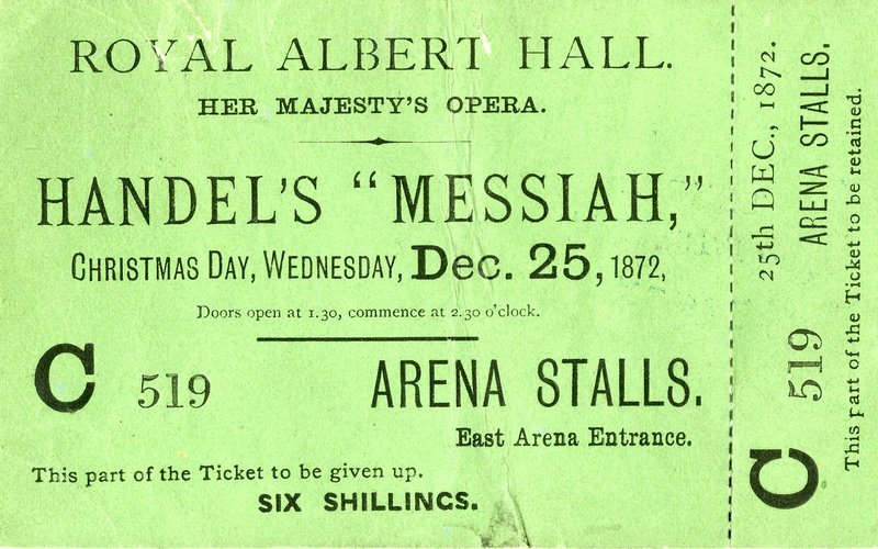 Ticket for a performance of Messiah on Christmas Day in the 1870s