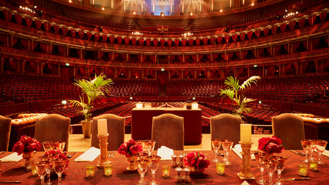 Dining table set up on stage at the Royal Albert Hall