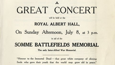 8 July 1923: A Great Concert in aid of the Somme Battlefields Memorial