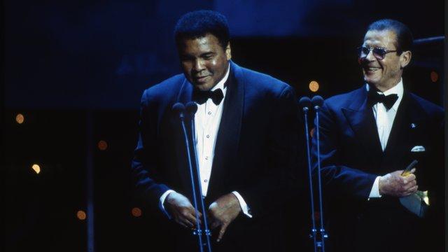 Muhammad Ali and Roger Moore at the World Sport Awards, held at the Royal Albert Hall