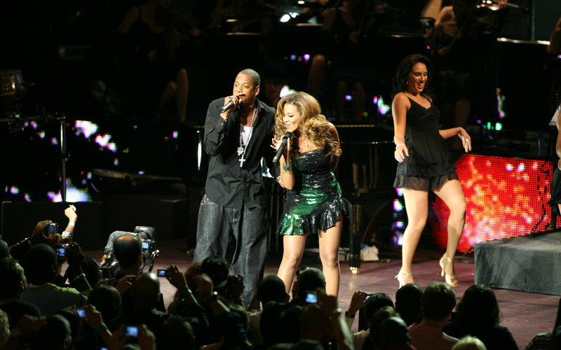 Jay-Z and Beyonce performing at the Royal Albert Hall in 2006