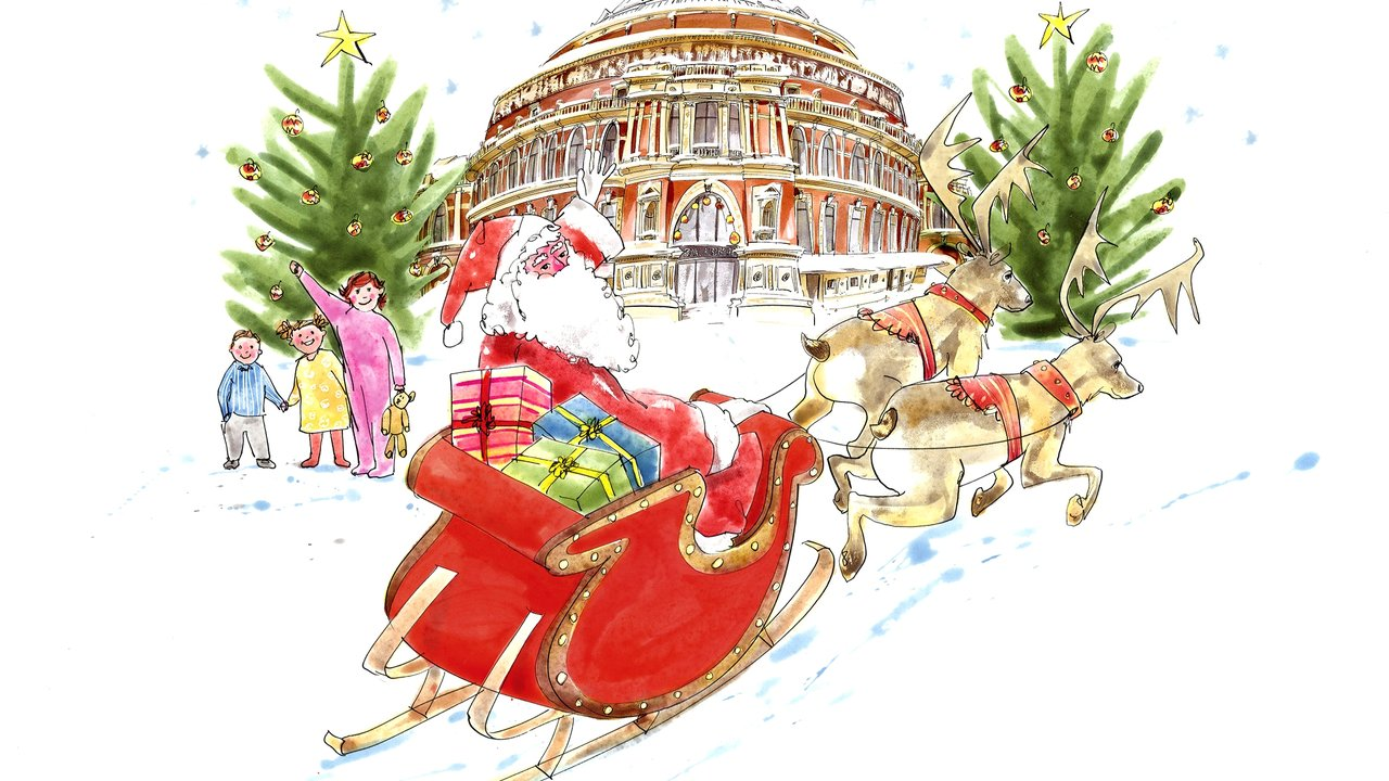Illustration of Father Christmas in sleigh with reindeer and children outside the Hall