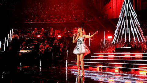 Kylie Minogue performs at A Kylie Christmas at the Royal Albert Hall on 11 December 2015
