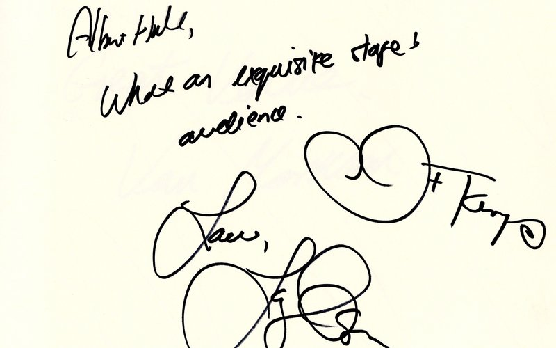 Signatures of Tony Bennett and Lady Gaga from a Royal Albert Hall Autograph Book 2015