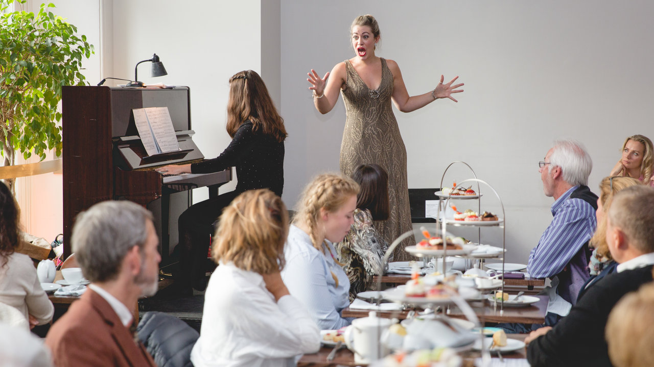 Fleur de Bray performs at an Afternoon Tea with Live Opera event in the Royal Albert Hall's Verdi restaurant on 8 October 2016