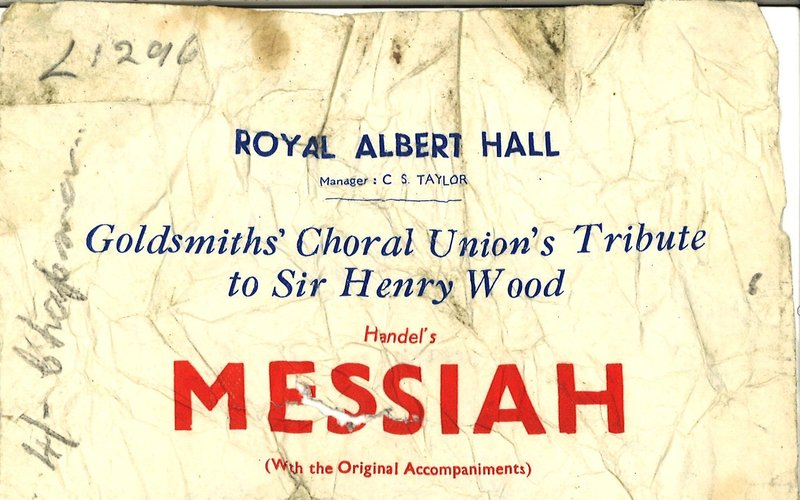 1940s handbills for a classical choral concert at the Royal Albert Hall