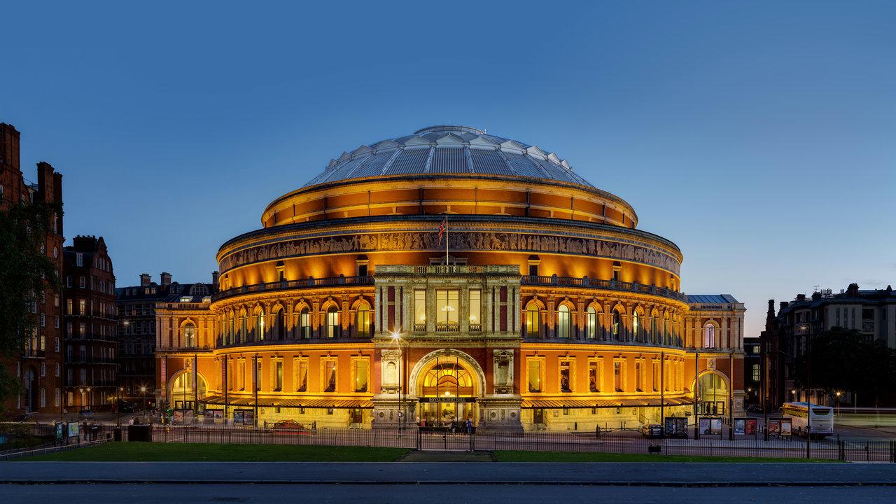 North-facing entrance of the Royal Albert Hall at dusk