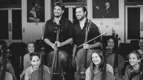 Top tips and cello tricks from 2CELLOS' workshop for young musicians