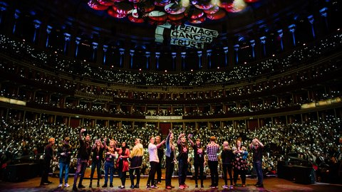 Young people from Teenage Cancer Trust units on stage at the Royal Albert Hall