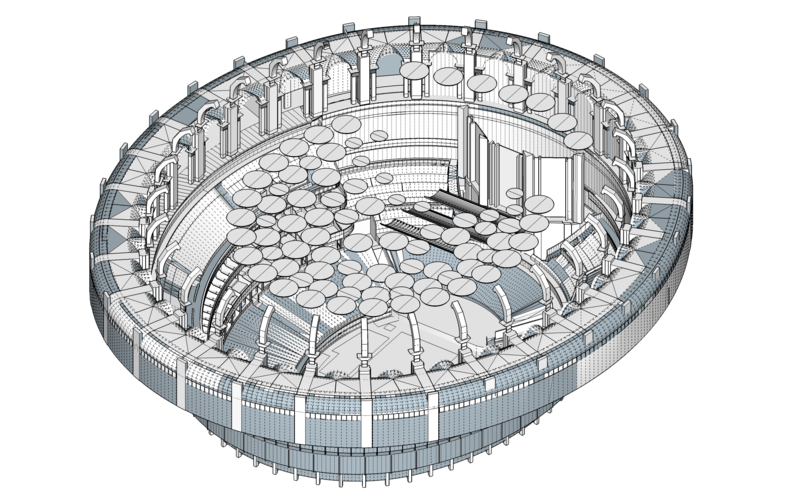 3D acoustic model of the Auditorium designed by Sandy Brown Acousticians for the 2019 Audio Project