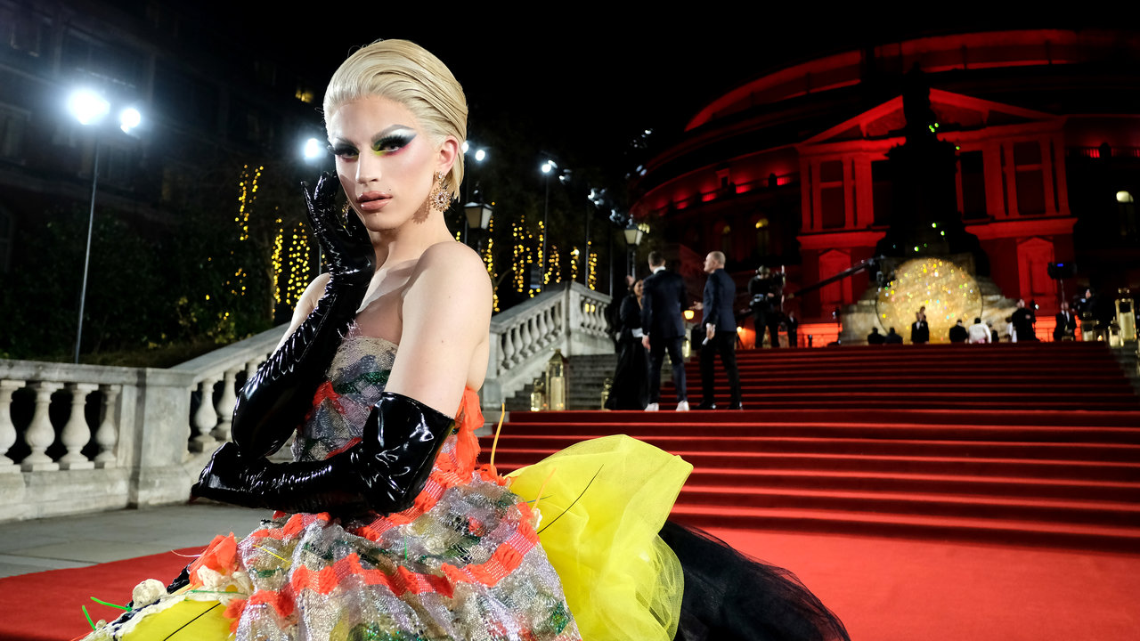LONDON, ENGLAND - DECEMBER 10:  Aquaria arrives at The Fashion Awards 2018 In Partnership With Swarovski at Royal Albert Hall on December 10, 2018 in London, England. (Photo by Mike Marsland)