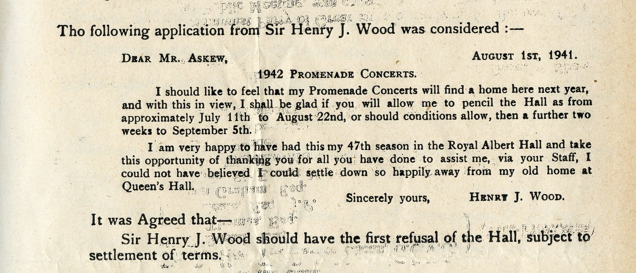 Letter to the Royal Albert Hall from Sir Henry Wood