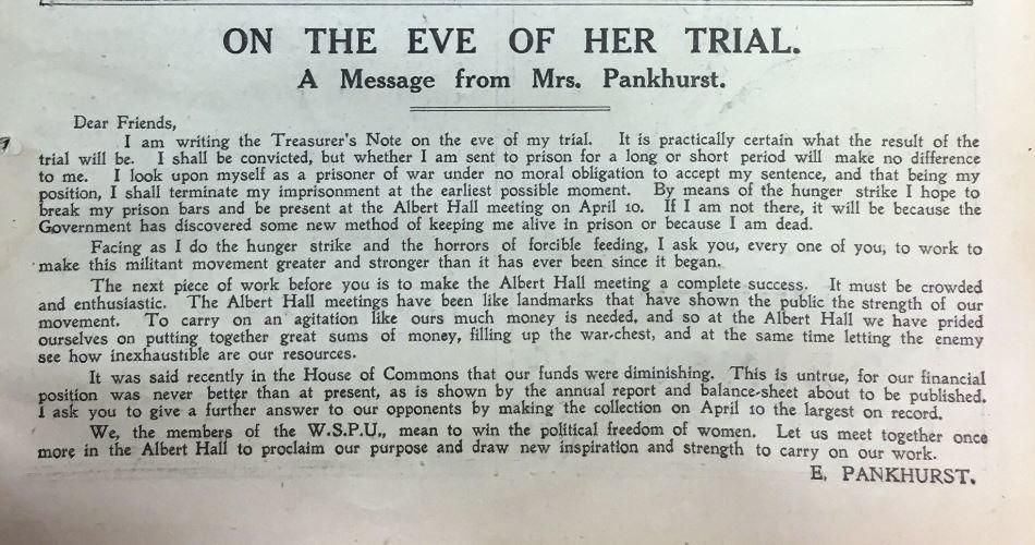 Letter from Emmeline Pankhurst