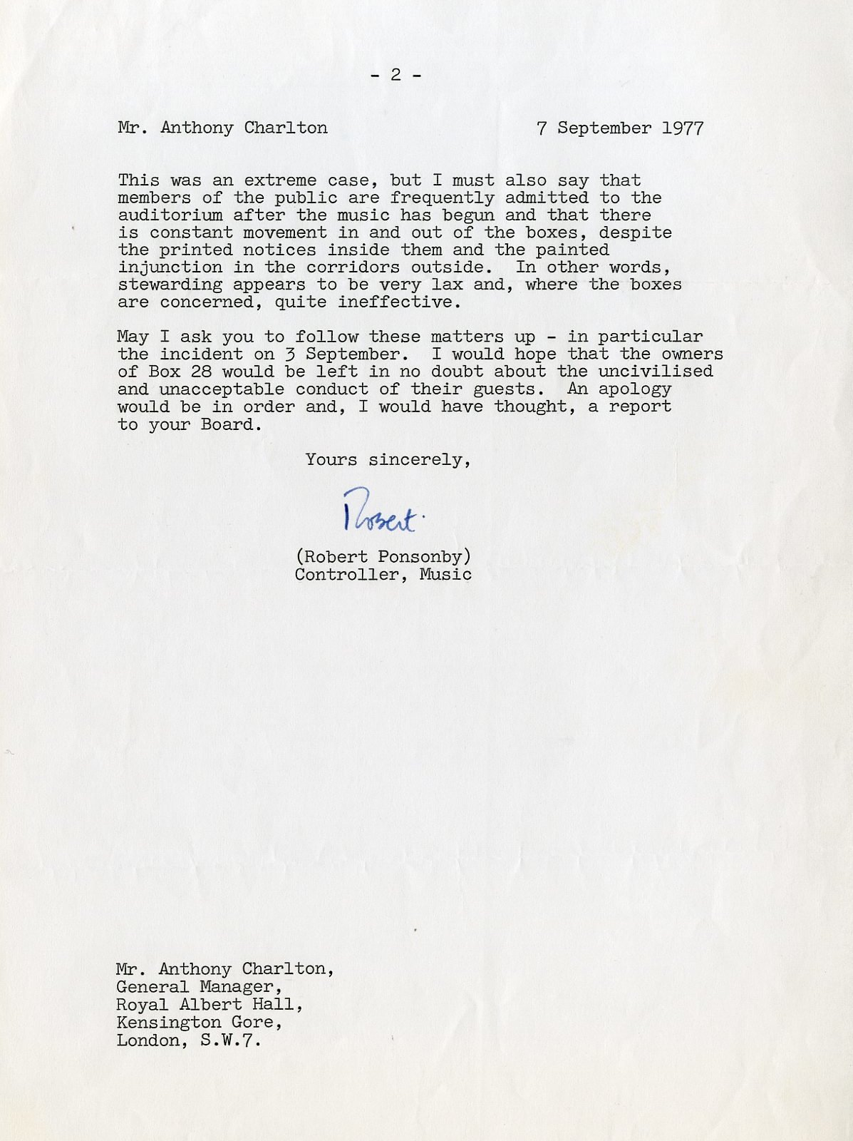 Letter from BBC to Royal Albert Hall