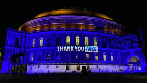 Royal Albert Hall lights up blue for the NHS