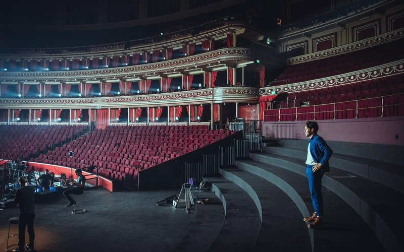 One Direction star Niall Horan performs in the round in an empty Royal Albert Hall in support of #WeNeedCrew on Saturday 7 November 2020