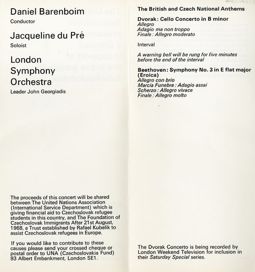 Programme for the Concert in Support of the Brave People of Czechoslovakia, in aid of the United Nations Association and the Foundation of Czechoslovak Immigrants, 2 September 1968
